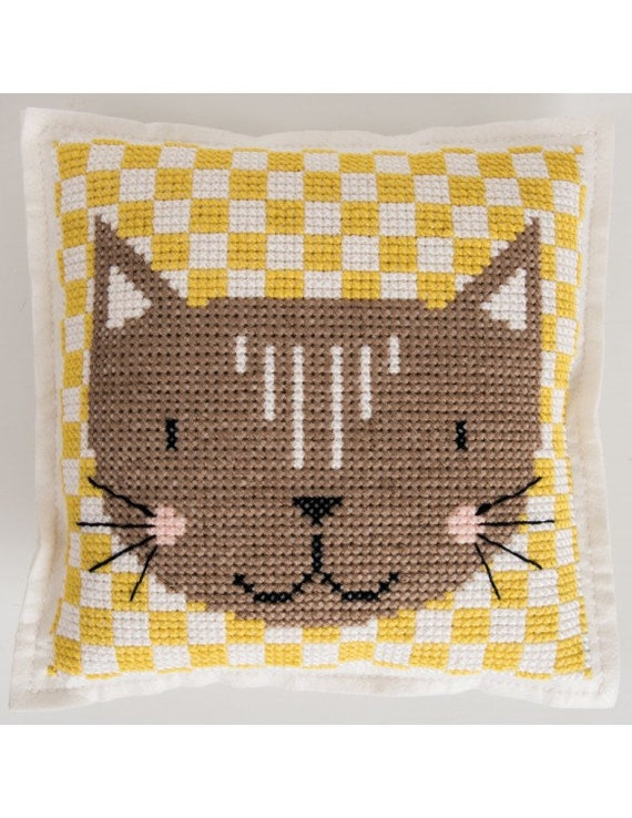 CUSHION KIT A BRODER felt geometric Brown Cat Head 42 x 42 cm