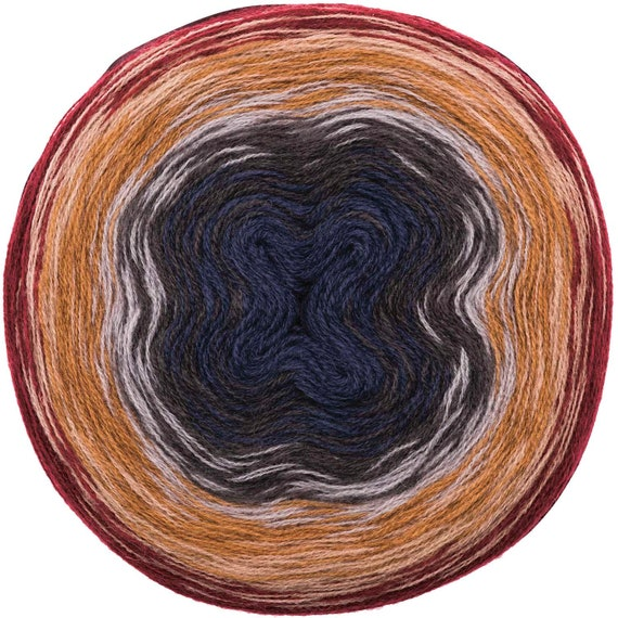 CREATIVE gradient skein Super WOOL degraded 6 Burgundy beige caramel color blue gray 200g - 800 m