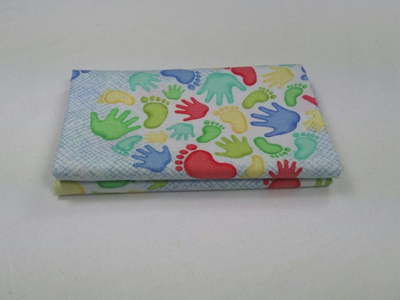 MIRACLE fabric Coupon cotton patchwork blue 50x55cm A MIRACLE Heart footprints blue hands and feet Prints