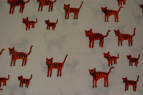 PATCHWORK CATS TIGERS ORANGE ROSEX50CM JAPANESE COTTON FABRIC