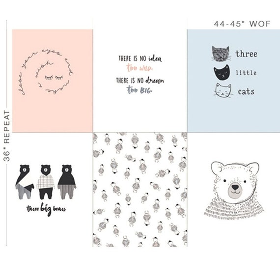 CAPSULES NEST Panel cotton fabric patchwork 6 bear designs and geometric cat blue pink black and white x 50 cm