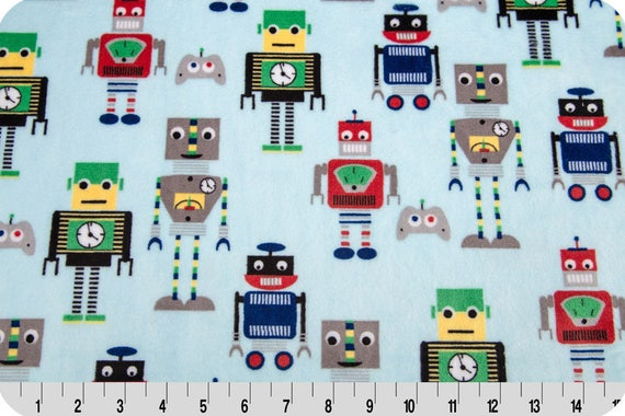 MINKY fabric Coupon synthetic velvet printed Robots multicolor 90x155cm