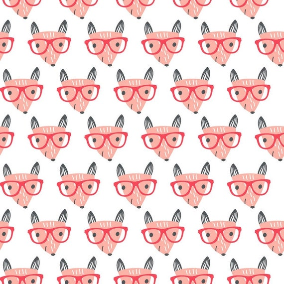 GOOD NIGHT FOREST fabric cotton patchwork Fox salmon glasses on white x 50 cm