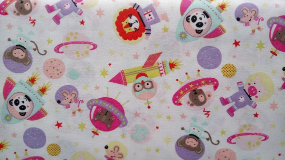 SPACE fabric cotton couture animals in pink and purple space on x50cm white