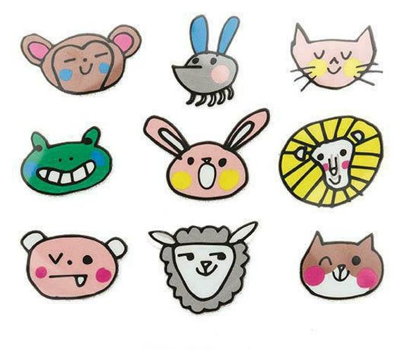 Badges transfer fusing funny animals x 9