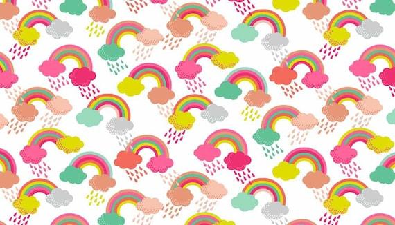 FANTASY fabric cotton patchwork RAINBOW white x50cm