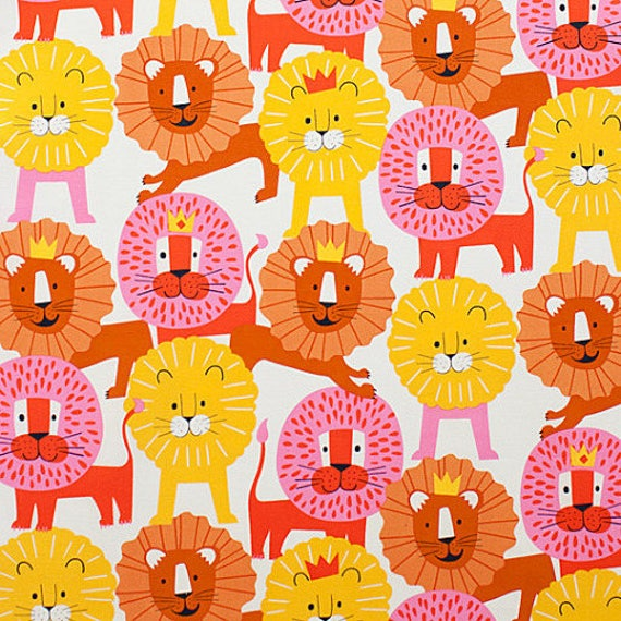LITTLE LION Coupon fabric cotton patchwork King Lion yellow orange and pink on white x1m