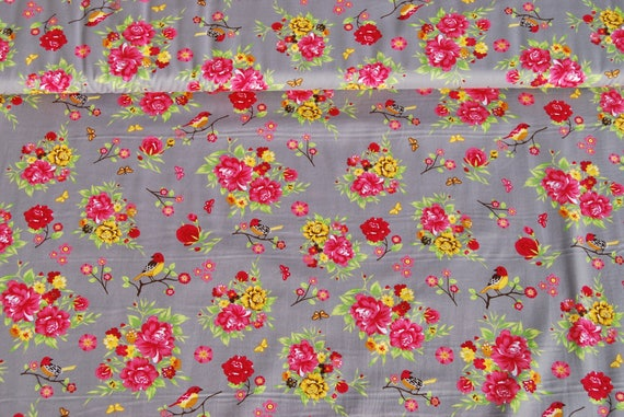 SALE fabric sewing BELLISSIMI FLORI birds pink and yellow x50cm Taupe cotton