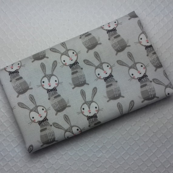 GOOD NIGHT FOREST Coupon fabric cotton patchwork Brown grey rabbit on gray background 50 x 55 cm