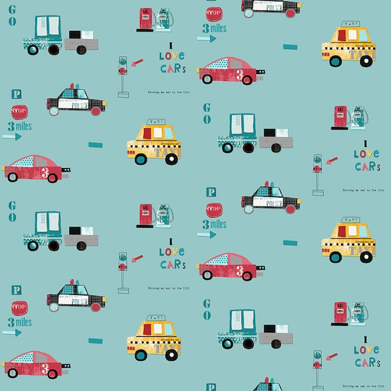 AVALANA AVALANA cars x40cm Turquoise cotton jersey fabric