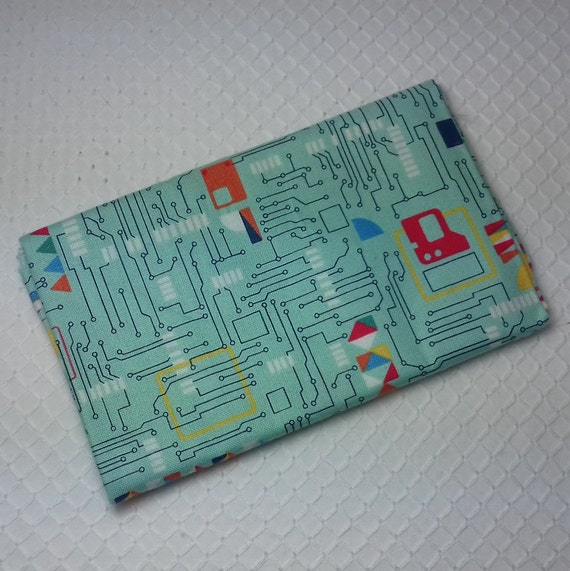 GALAXY Coupon fabric cotton patchwork designs of electronic circuits computer on turquoise background 50 x 55 cm