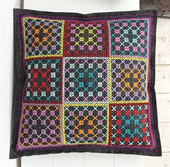 CUSHION KIT has embroidery square charcoal felt colorful 42 x 42 cm