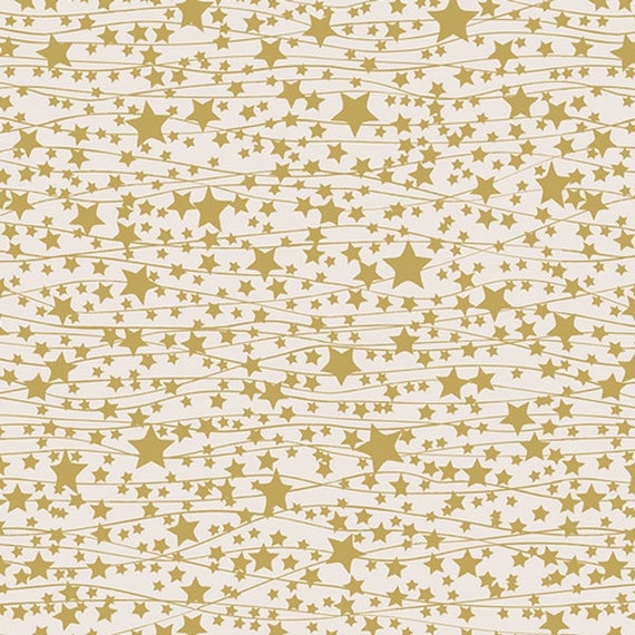 LITTLE TOWN Coupon fabric cotton patchwork stars garlands of golden stars Twinkle ivory and gold 50x55cm