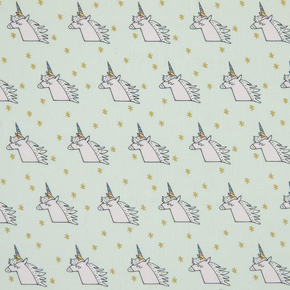 Pink cotton fabric Unicorn and Rainbow on Mint green background and gold x50cm stars