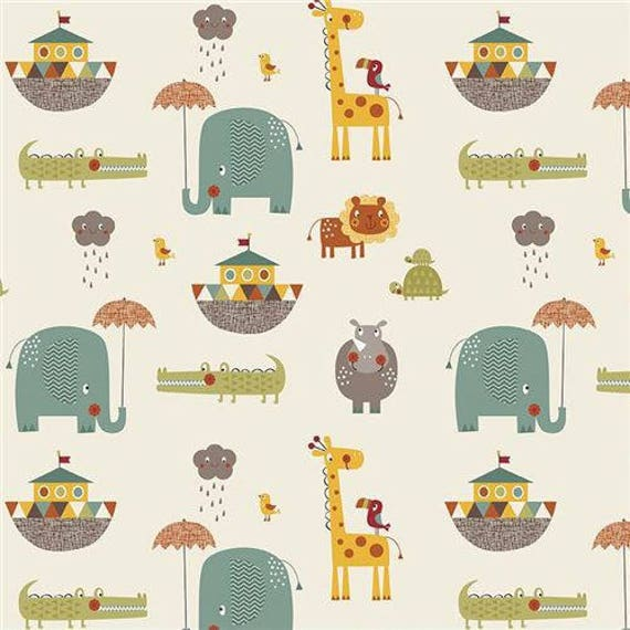 GIRAFFE CROSSING fabric cotton patchwork Giraffe Crossing 2 ivory x50cm