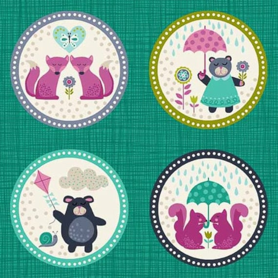 WINDY DAY fabric cotton patchwork pet Portrait Labels Turquoise and pink x30cm