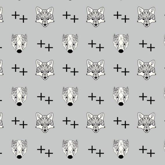 AVALANA AVALANA skulls black and grey x40cm Fox cotton jersey fabric