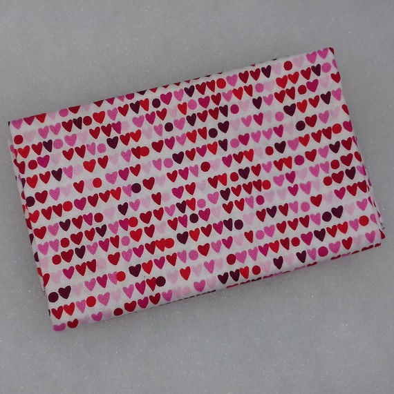 HEART TO HEART Coupon fabric cotton patchwork 50x55cm red Mini hearts