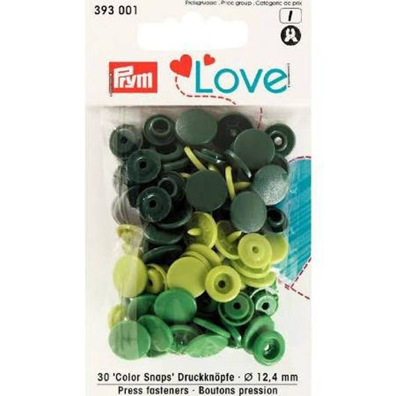 LOT 30 BUTTONS PRESSURES COLOR 12.4 MM 3 GREEN SNAPS
