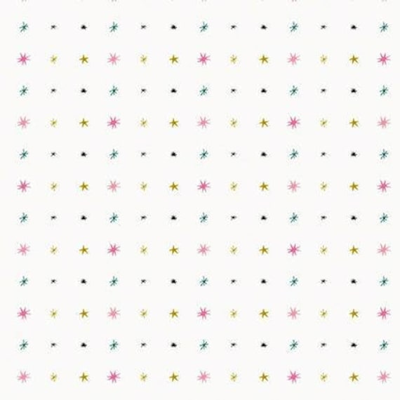 MAGICAL CHRISTMAS fabric sewing stars and asterix blue green pink and gold matte x50cm