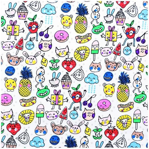 Fabric cotton multicolored faces on white x 1 m design