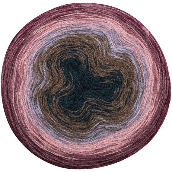 CREATIVE gradient skein Super WOOL degraded 6 plum colored mauve rose taupe oil 200gms sky - 800 m