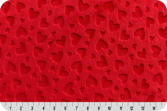 MINKY fabric long synthetic velvet shaved x25cm red hearts