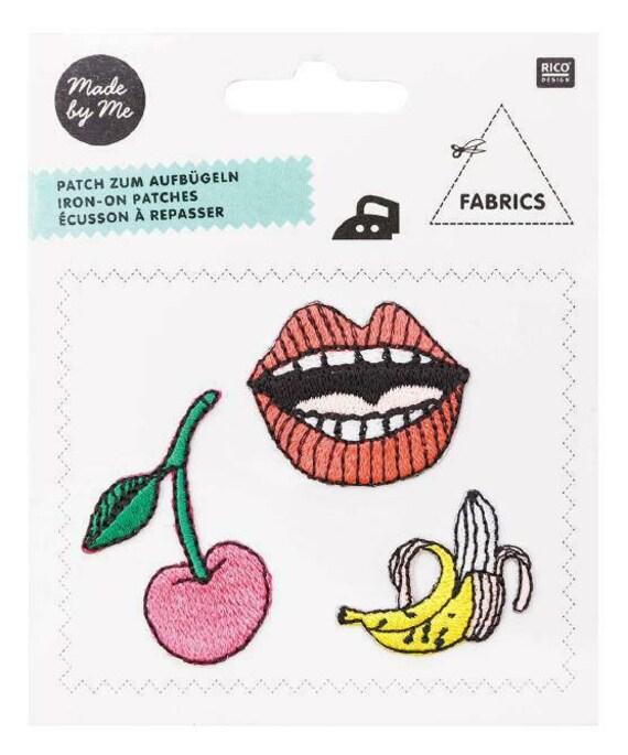 Heat-sealed badges cherry banana mouth x 3