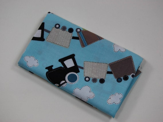 ALL ABOARD Coupon fabric cotton patchwork train black and grey on blue sky 50x55cm