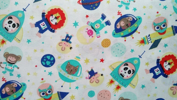SPACE fabric cotton couture animals in the space blue and turquoise on white x50cm