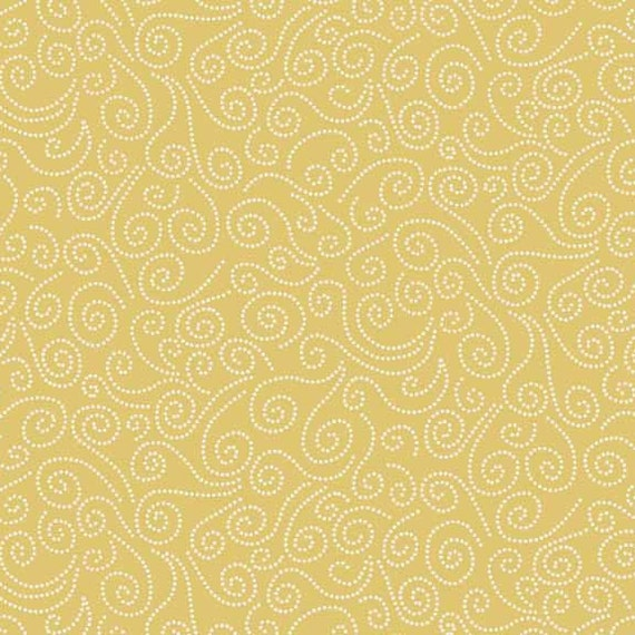 WINDY DAY fabric cotton patchwork Swirl Yellow x50cm