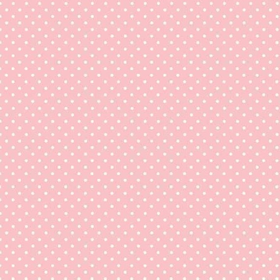 SPOT ON cotton fabric pink patchwork polka dot white on pale x50cm