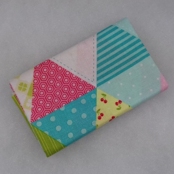 GLAMPER LICIOUS Coupon fabric cotton patchwork triangle in pink and green 50x55cm patch