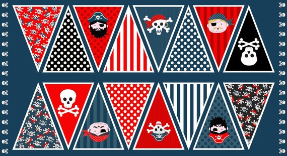 PIRATES fabric cotton patchwork PIRATES Panel flags sewing 60x110cm big