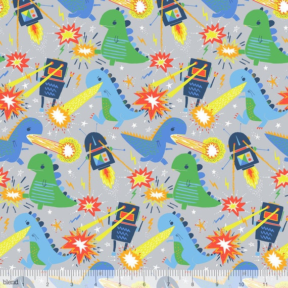 MONSTERS VS ROBOTS cotton fabric patchwork war between robots and monsters on gray x 50 cm