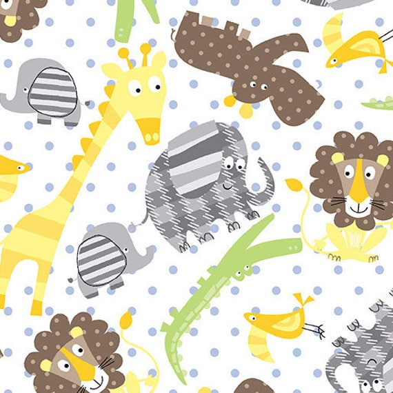 ZOO BABY fabric cotton patchwork Zoo Animals Baby animal on x50cm white background