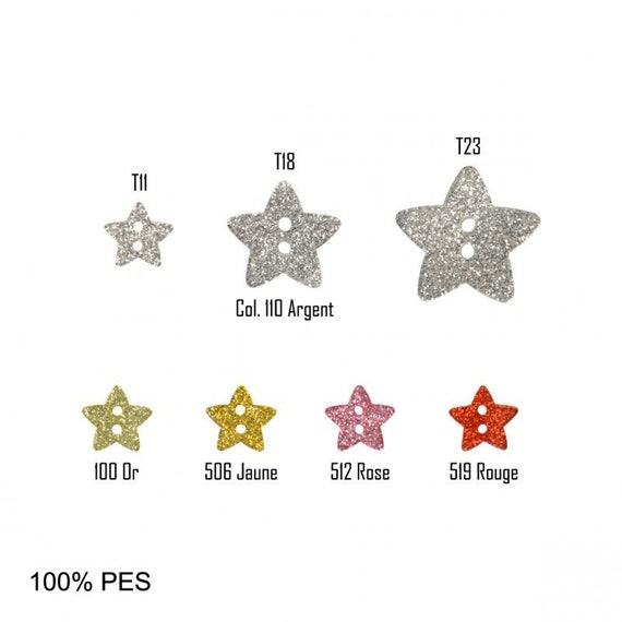 BUTTON set of 6 buttons sequined stars 2 holes 3 colors available in 11 mm