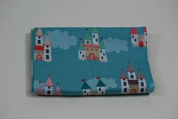 TUTU fabric Coupon cotton patchwork TUTU CASTLES blue 50x55cm