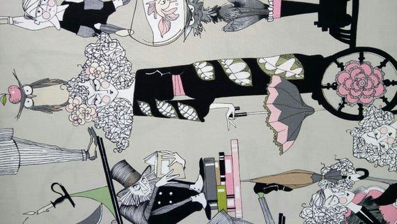 GHASTLIE fabric by Alexander Henry Ghastlie Family 30s Grey x50cm