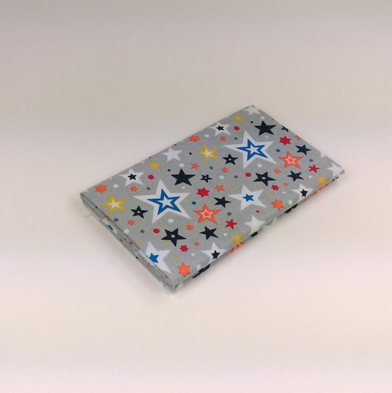 PLAY BALL cotton fabric Coupon patchwork stars of all sizes in gray 50x55cm