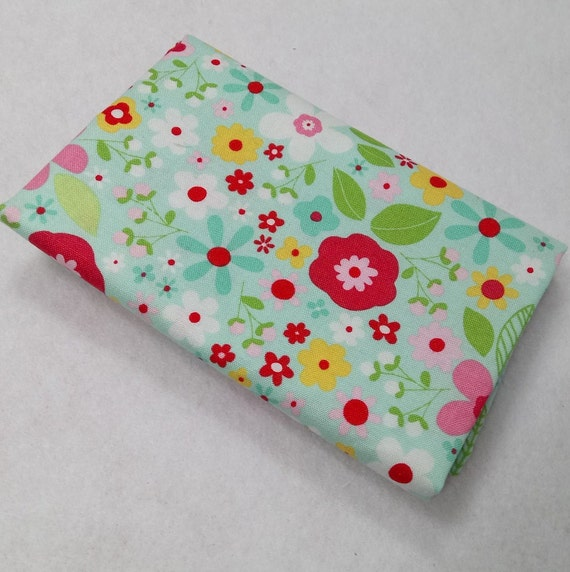 GARDEN GIRL Coupon fabric cotton green water 50x55cm flowers patchwork