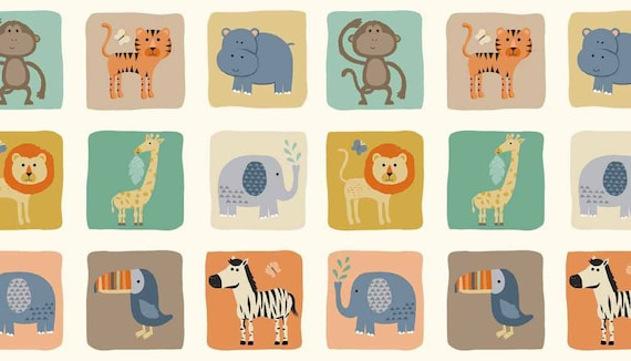 BABY JUNGLE fabric cotton patchwork Blocks pastilles square animals on ivoiry x20cm