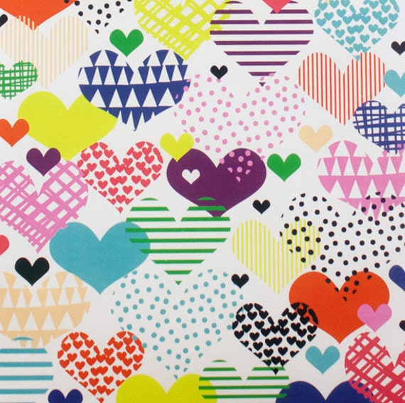 HEARTS A FLUTTER fabric patchwork hearts coron multicolored x50cm