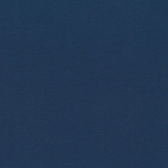 AVALANA AVALANA plain SOLID blue cotton jersey fabric Navy x40cm