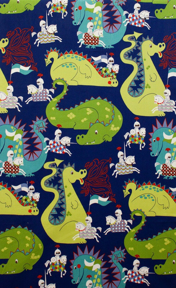 DRAGONS fabric cotton patchwork blue and green x50cm Knight Meets Dragon Knights and Dragons