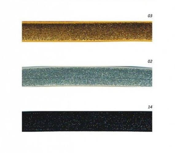 Ribbon elastic velvet lurex 20mm gold or silver x1m