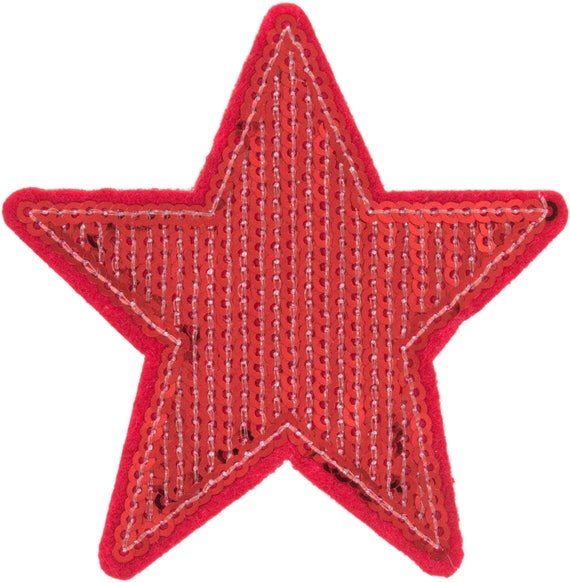 Applied fusible 8cms red glitter Star Red