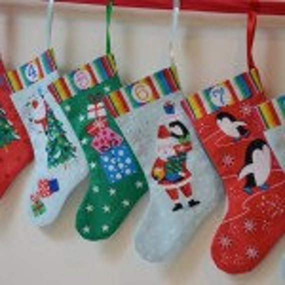 CHRISTMAS fabric Coupon cotton advent calendar Panel patchwork small Christmas socks do-it-yourself 60 x 110 cm