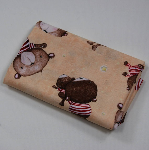 SHINE BRIGHT fabric Coupon cotton patchwork Tossed bears 50x55cm