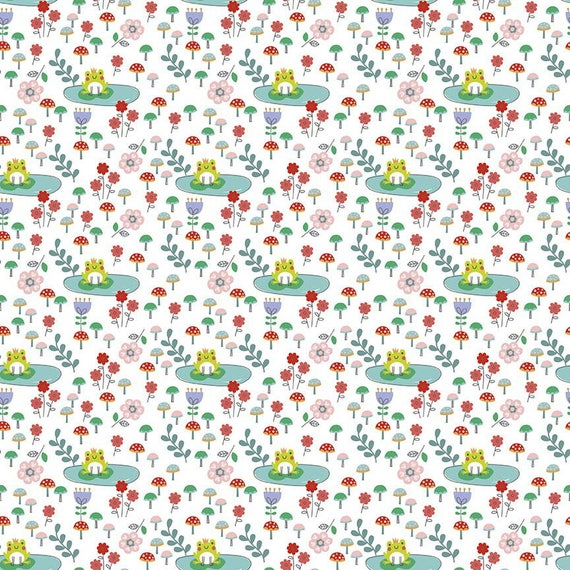 PRINCESS DREAM cotton fabric patchwork frog on lotus and pond on x50cm white